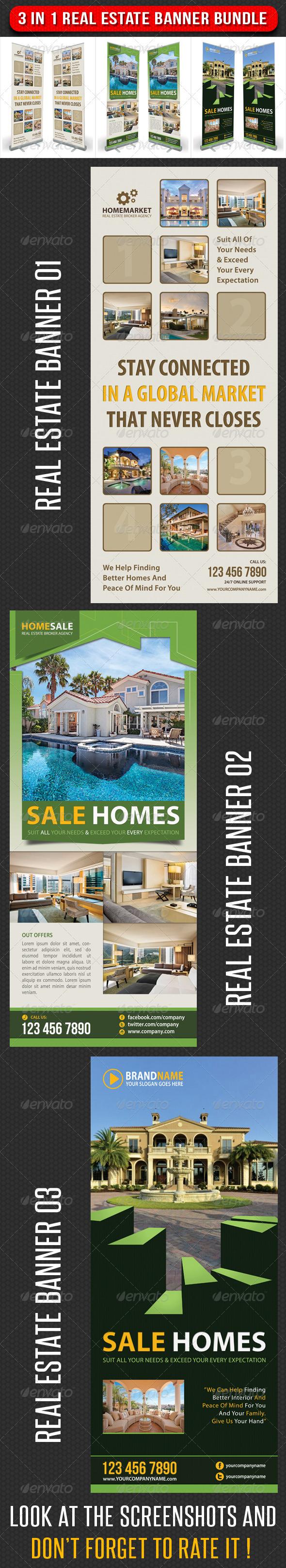3 in 1 Real Estate Banner Bundle 01 - Signage Print Templates
