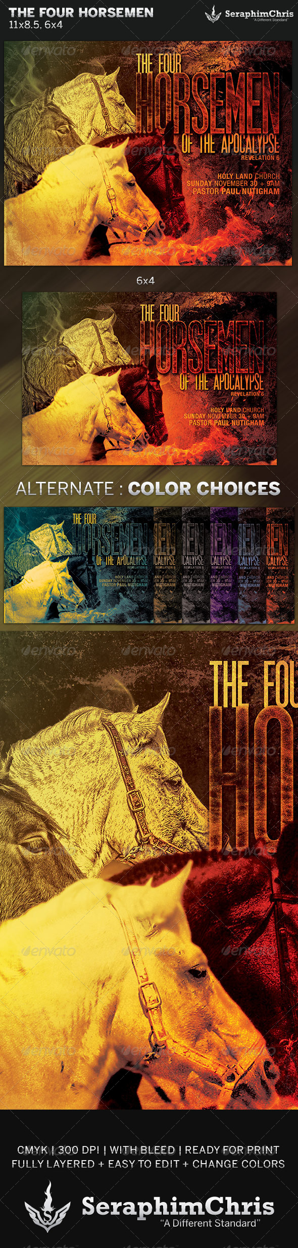 The Four Horsemen: Church Flyer Template - Church Flyers