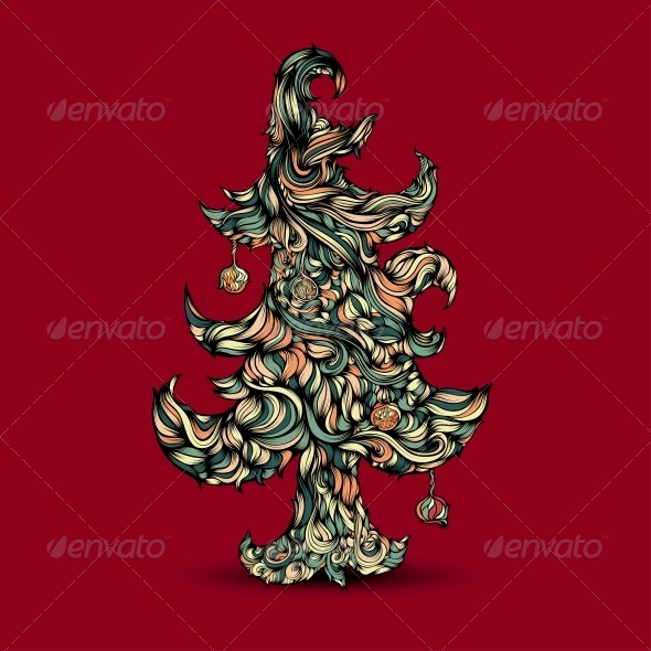 Christmas Tree made of Hair - Christmas Seasons/Holidays