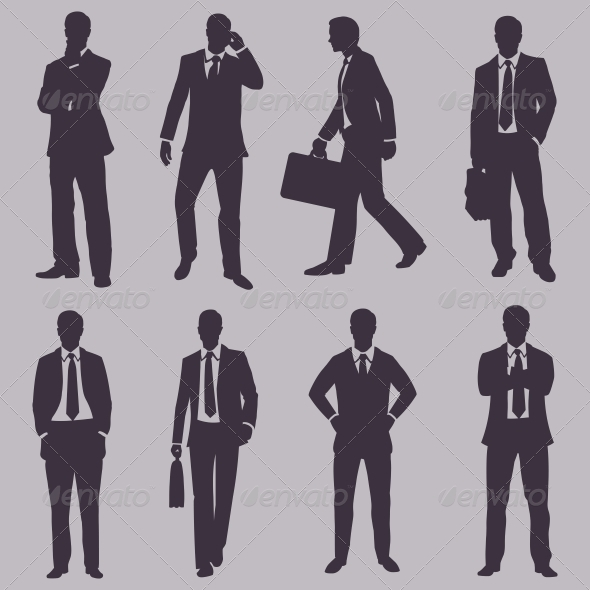 Vector Set of Silhouettes of Business People - Concepts Business