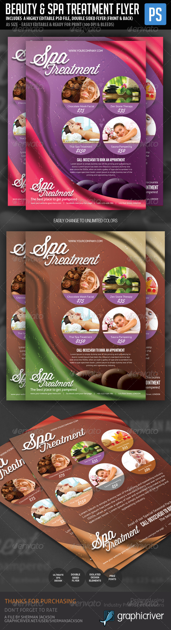 Beauty & Spa Treatment Flyer  - Corporate Flyers