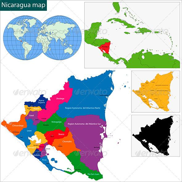 Nicaragua Map - Travel Conceptual