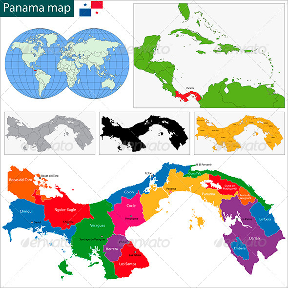 Panama Map - Travel Conceptual