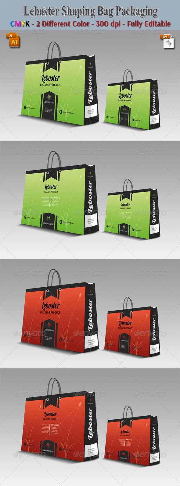Liboster Shoping Bag Packaging - Packaging Print Templates