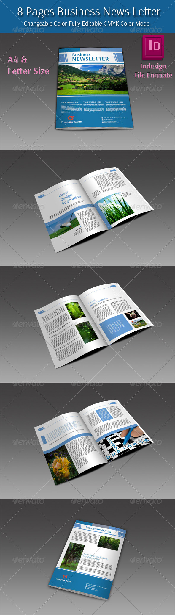 8 Pages Business Newletter - Newsletters Print Templates
