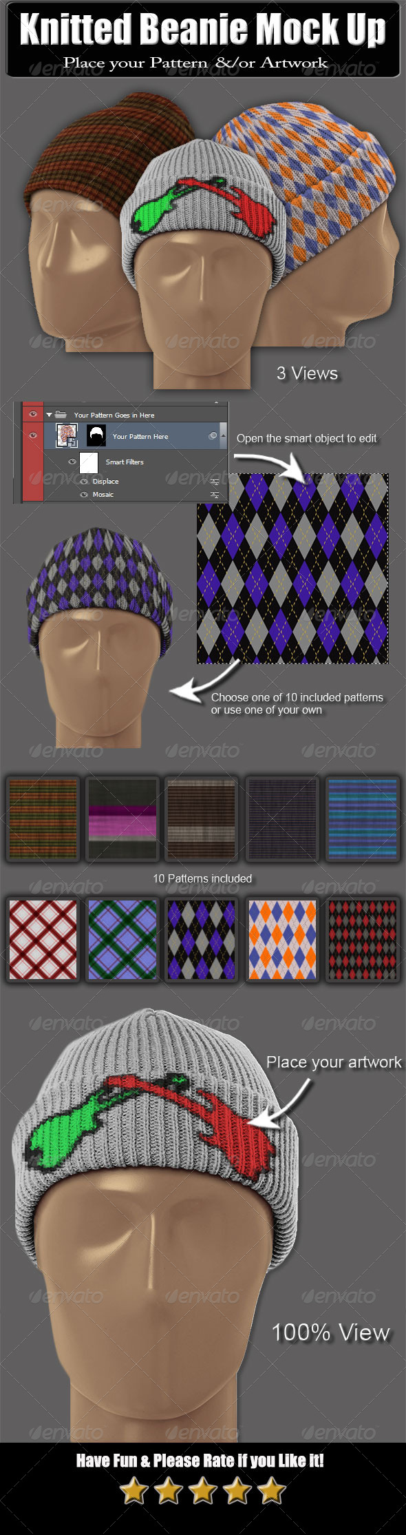 Knitted Beanie Mock Up - Miscellaneous Apparel