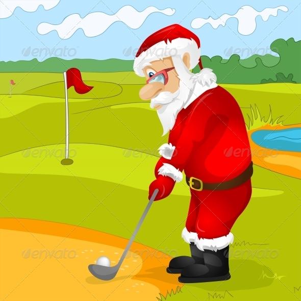 Santa Claus Golfing - People Characters