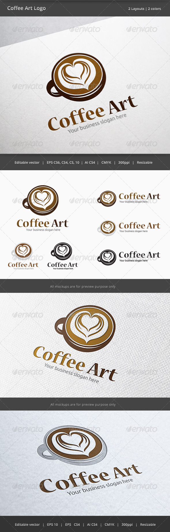 Coffee Cup Art Logo - Objects Logo Templates