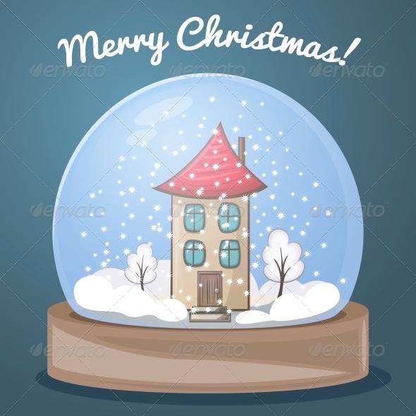 Snow Globe with a House - Christmas Seasons/Holidays