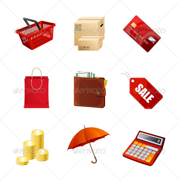 Shopping Icons Set - Retail Commercial / Shopping