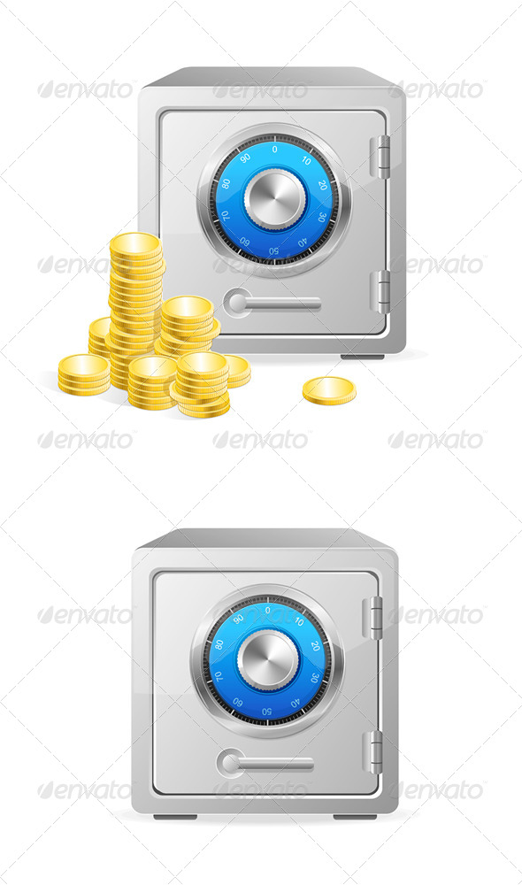 Vector Metal Safe Icon. Security Concept - Concepts Business