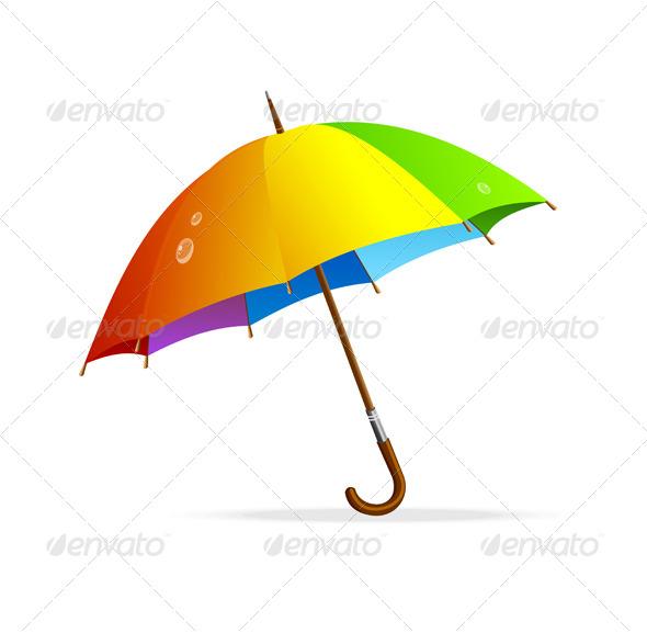Vector Rainbow Umbrella Isolated - Seasons Nature