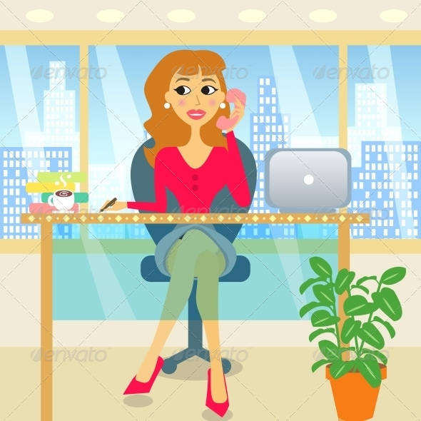 Woman in Office - People Characters