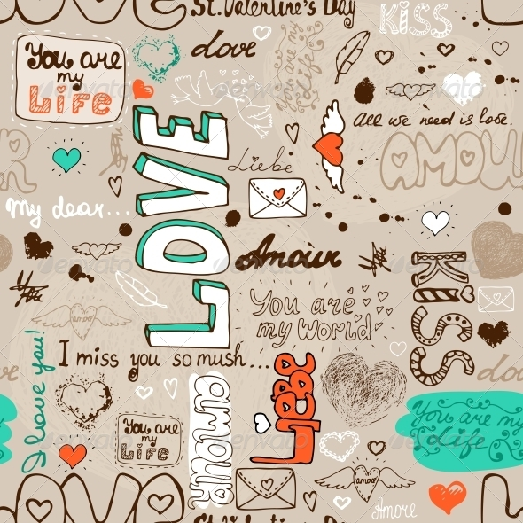 Seamless Love Letter Pattern - Backgrounds Decorative