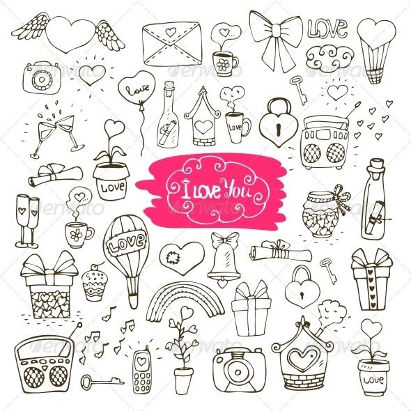 Love Doodle Icons - Decorative Symbols Decorative