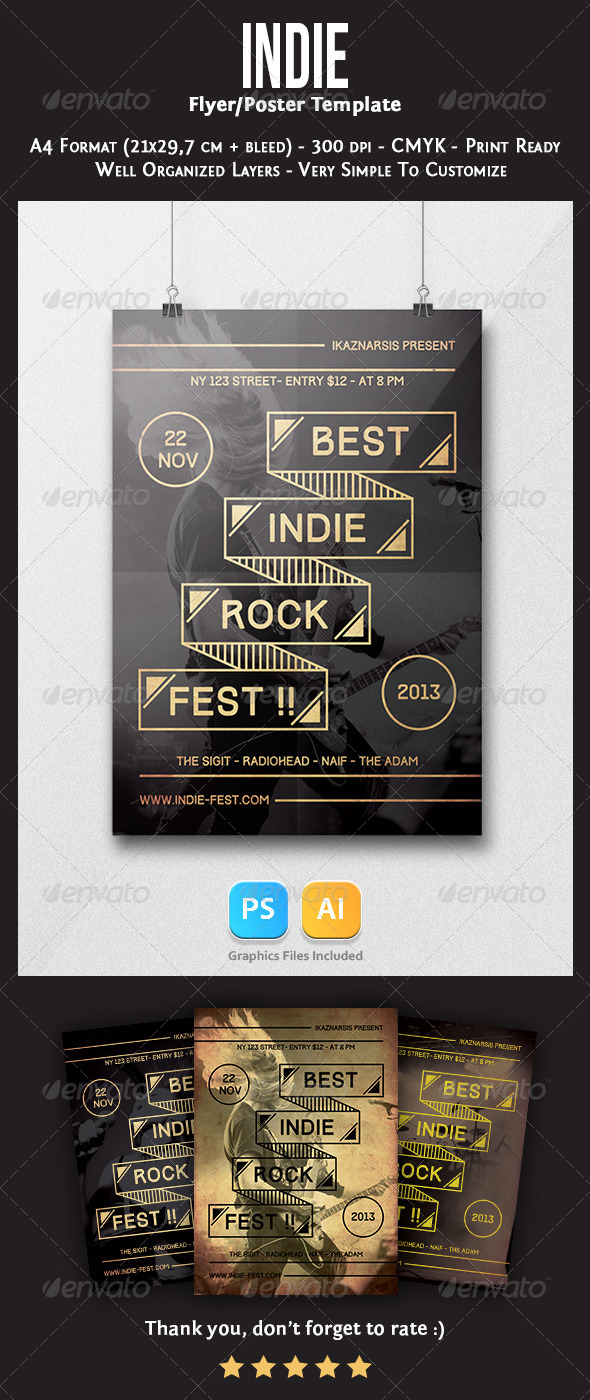 Indie Flyer Template - Concerts Events