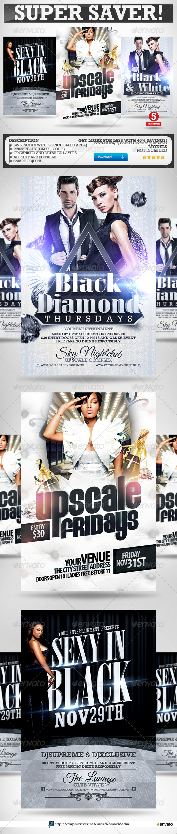 Black and White Party Flyers Super Bundle Vol.2 - Clubs & Parties Events