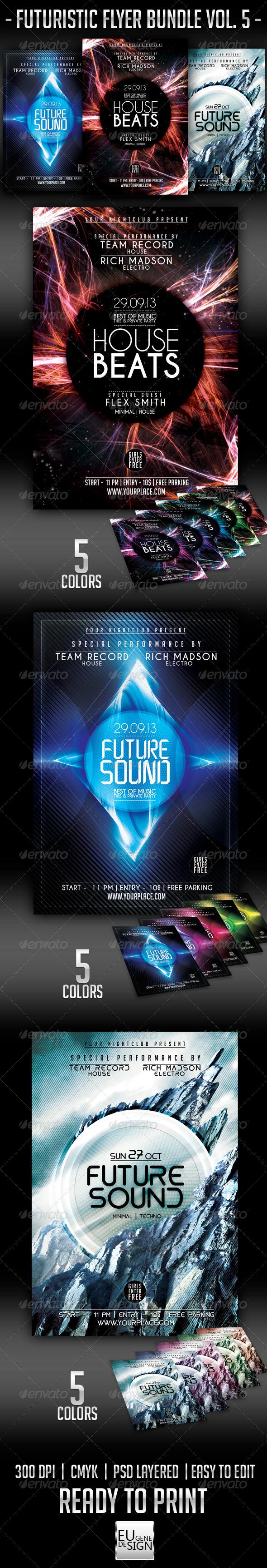 Futuristic Flyer Bundle Vol. 5 - Clubs & Parties Events