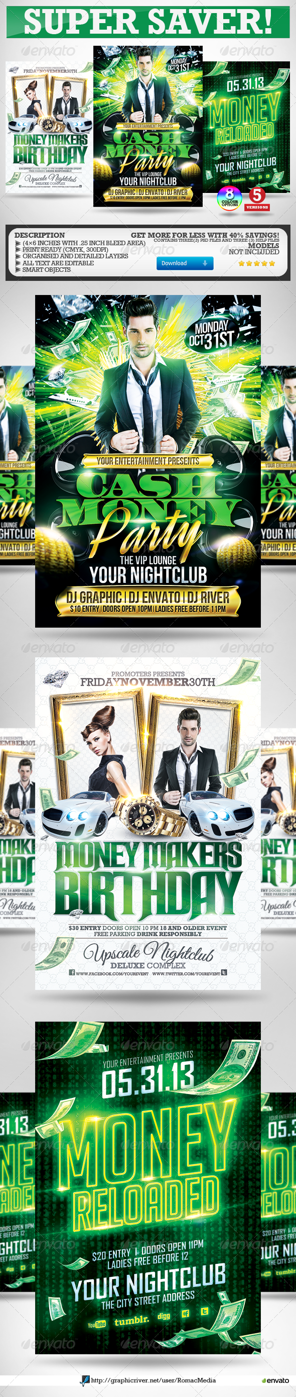 Cash Money Party Flyers Super Bundle - Clubs & Parties Events