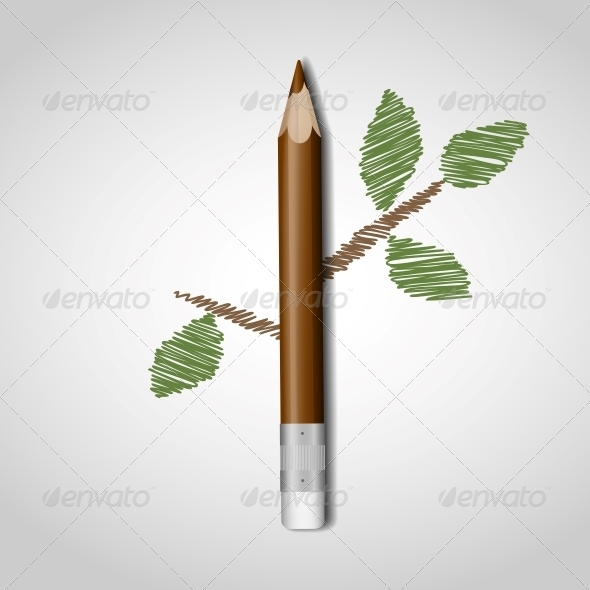 Wooden Pencil with Leaves - Concepts Business