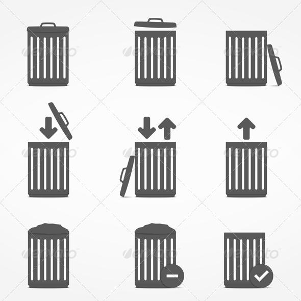 Trash Can Icons - Web Elements Vectors