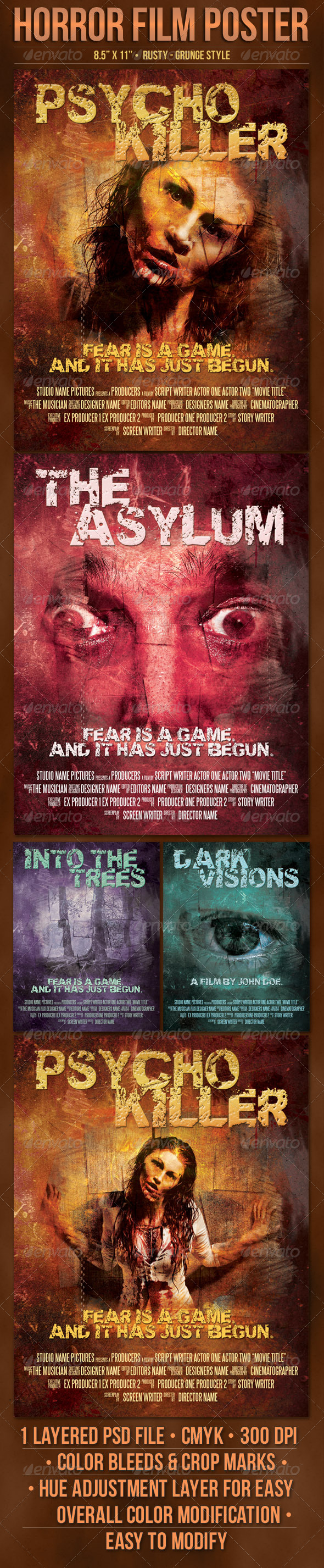 Psycho Horror Film Poster Template - Miscellaneous Events