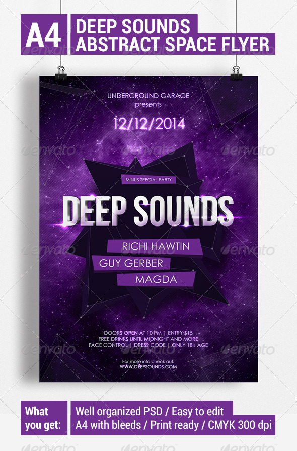 Deep Sounds - Abstract Space Flyer - Clubs & Parties Events