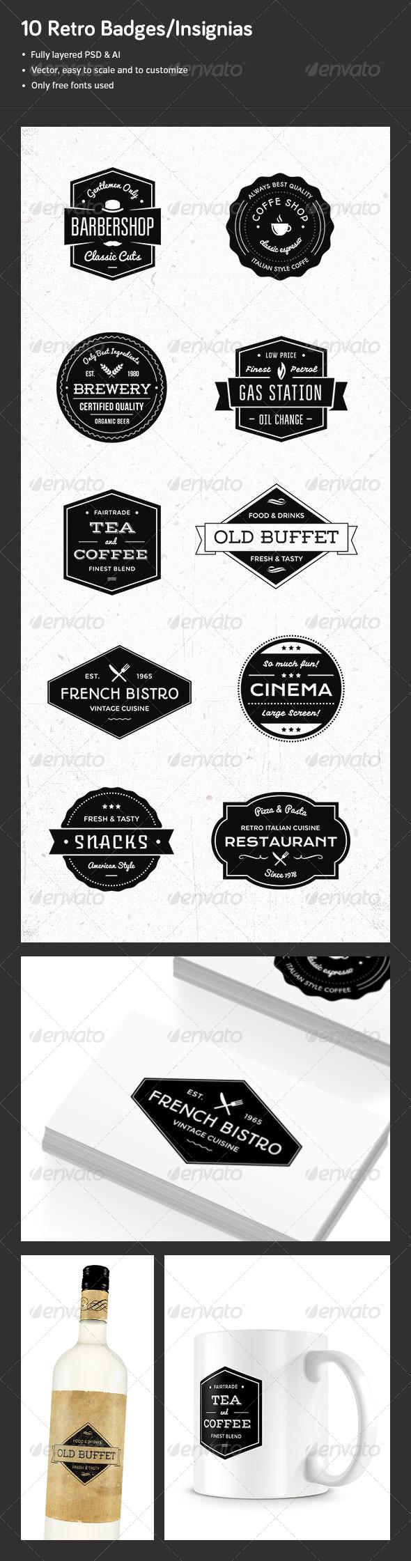 10 Retro Badges/Insignias - Badges & Stickers Web Elements