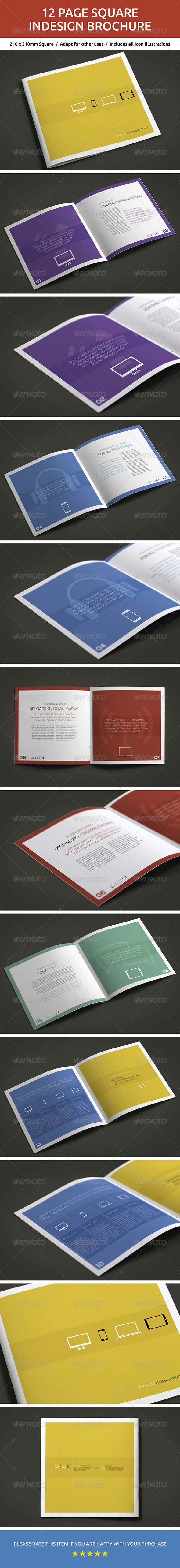 12 Page Square InDesign Brochure - Brochures Print Templates