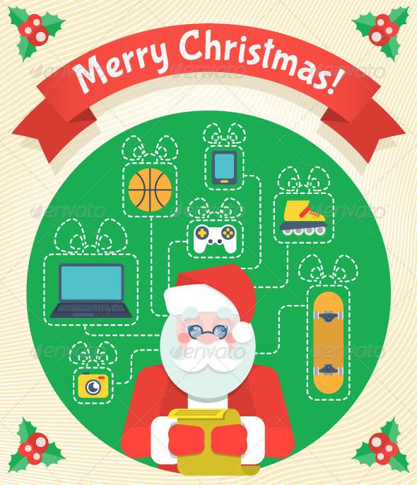 Christmas Card with Santa Claus and a Wishlist - Christmas Seasons/Holidays