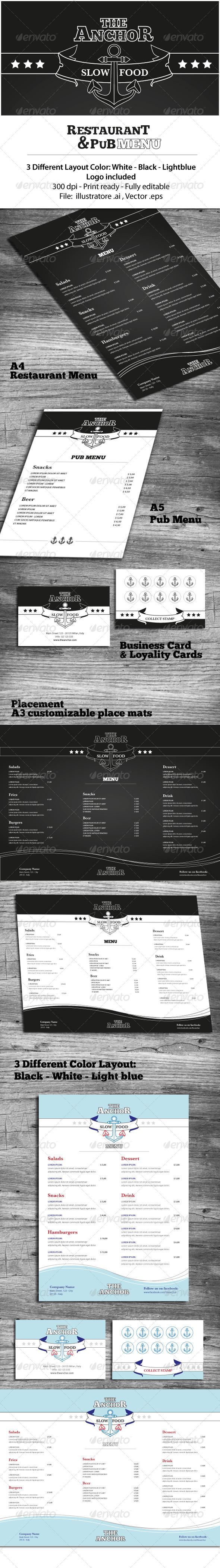 Restaurant & Pub Menu - Food Menus Print Templates