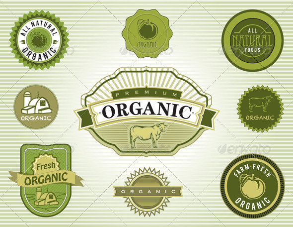 Vector Set of Organic and Natural Food Labels - Health/Medicine Conceptual