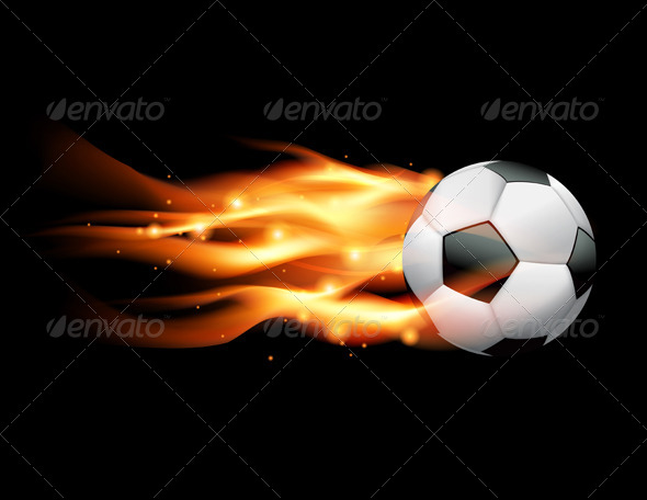 Vector Flaming Soccer Ball - Sports/Activity Conceptual