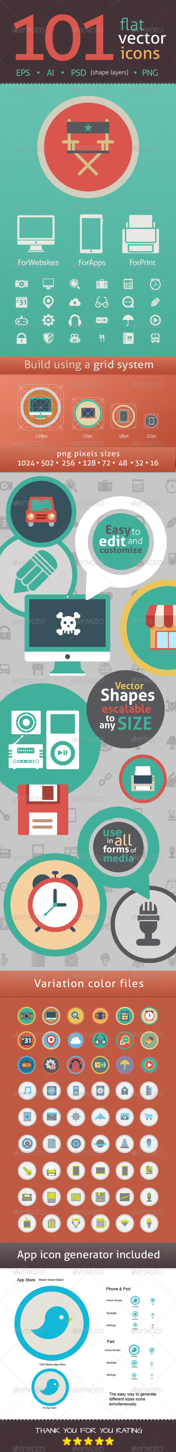 101 Flat Icons in Vector Format and Shape Layers - Icons