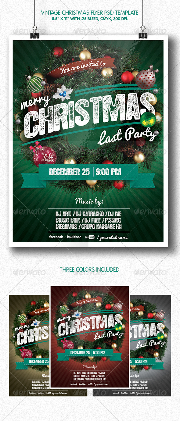Vintage Christmas Party | Flyer Template - Clubs & Parties Events