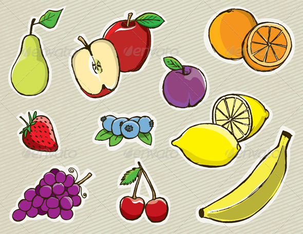 Vector Hand Drawn Fruit - Food Objects