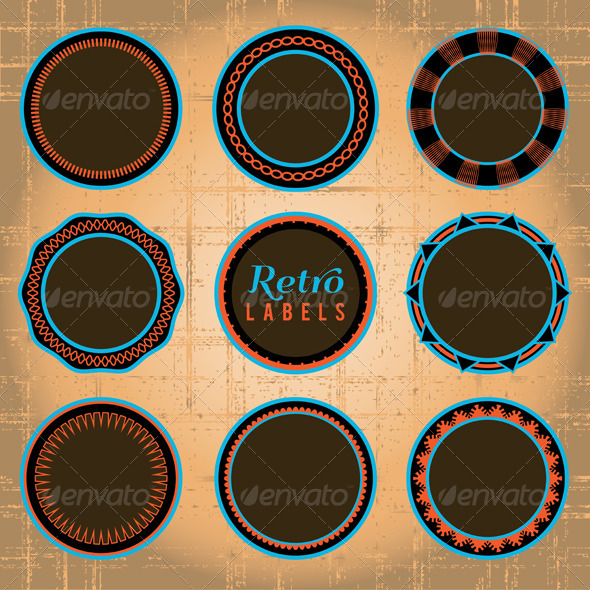 Vector Set of Retro Labels and Badges - Borders Decorative