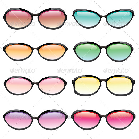 Vector Colorful Set of Sunglasses - Miscellaneous Characters