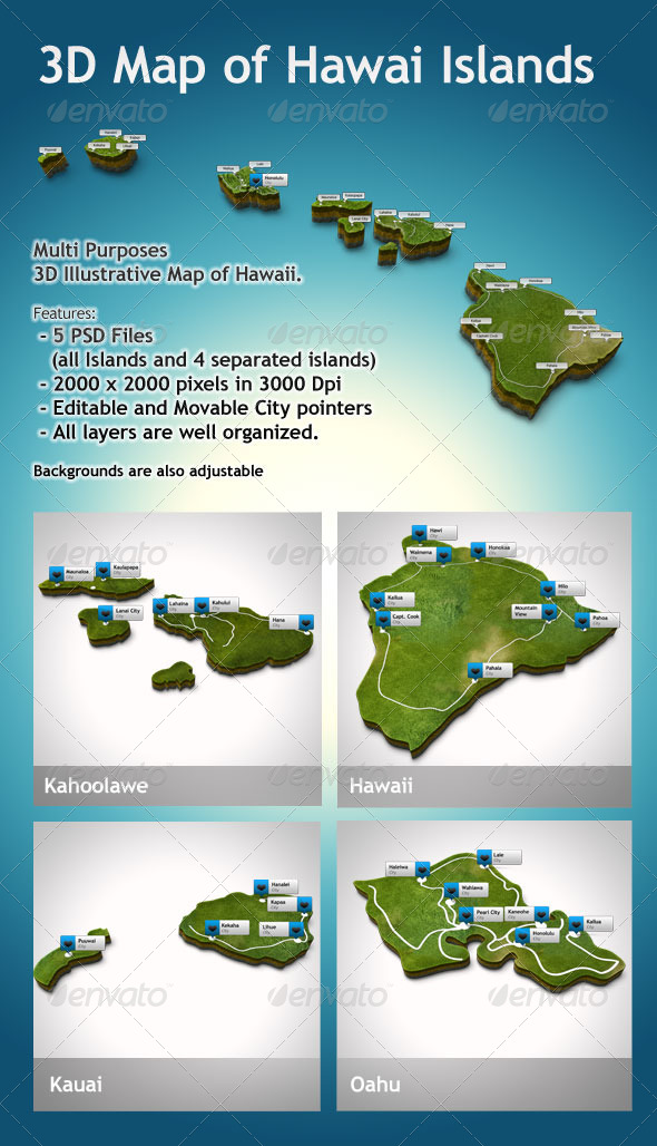 3D Hawaii Map Illustrative - Objects Illustrations