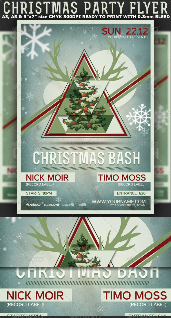 Christmas Minimal Party Flyer-Poster - Holidays Events