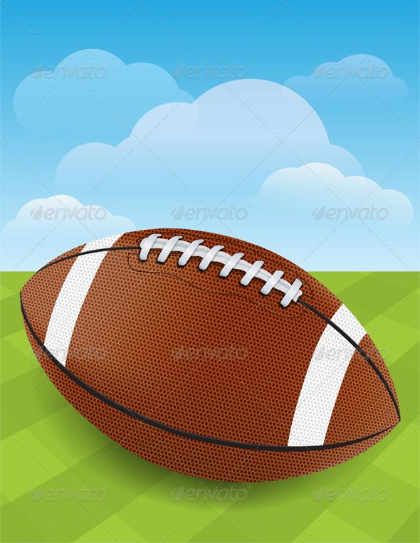 Vector Football on Green Grass - Sports/Activity Conceptual