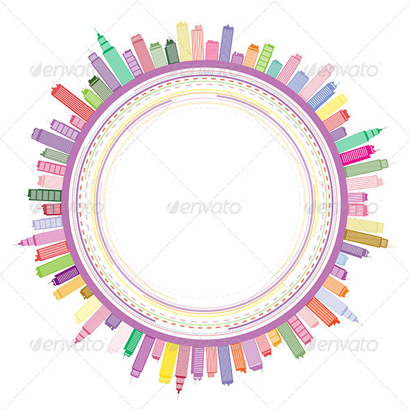 Circle Cityscape Frame Background - Backgrounds Decorative