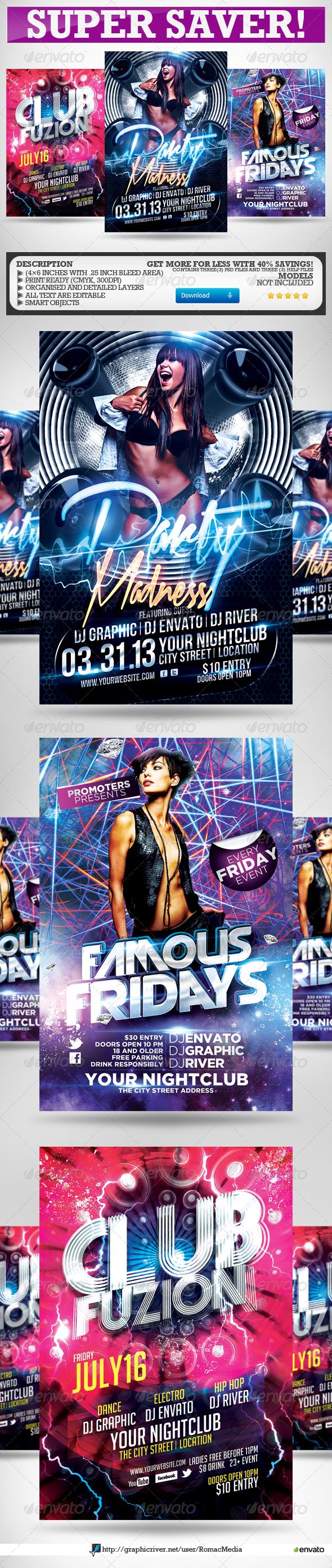 Intense Club Party Flyers Super Bundle - Clubs & Parties Events
