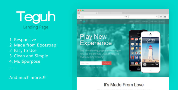 Teguh – Easy to Use Responsive Landing Page