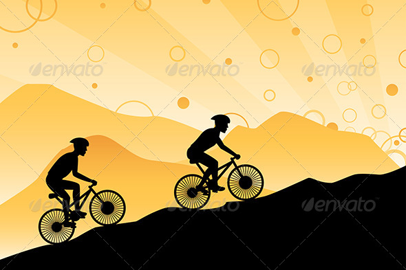 Mountain Bikers - Sports/Activity Conceptual