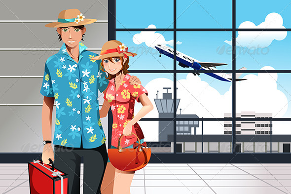 Summer Traveling Couple - Seasons/Holidays Conceptual
