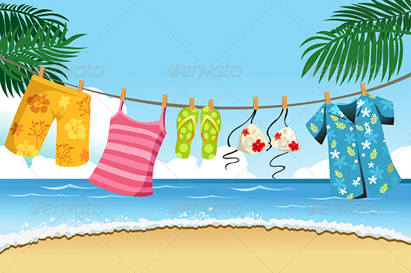Drying Summer Clothes - Objects Vectors