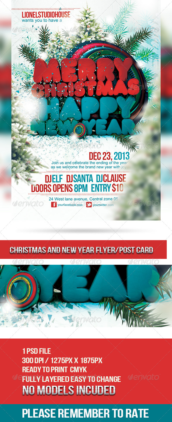 Christmas Flyer / Post Card - Holidays Events