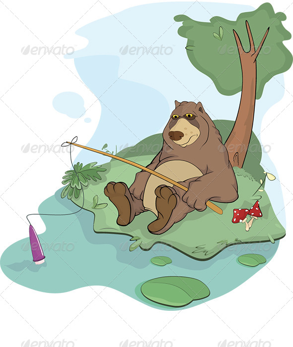 Bear the Fisherman Cartoon  - Animals Characters