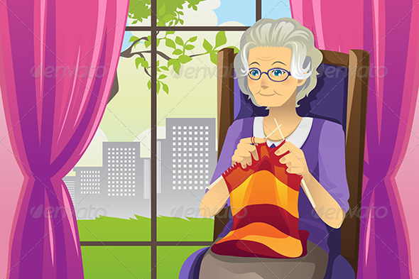 Knitting Senior Woman - People Characters